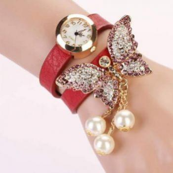 RED BUTTERFLY BRACELET FASHION WATCH