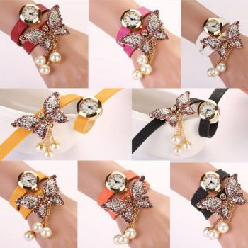 WHITE BUTTERFLY BRACELET FASHION WATCH