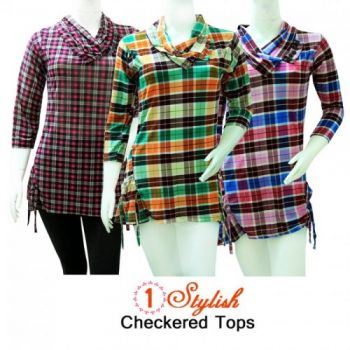 Bundle Deal  Three Stylish Checkered Womens Top