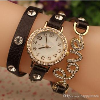 Black Love Leather Bracelet Watch