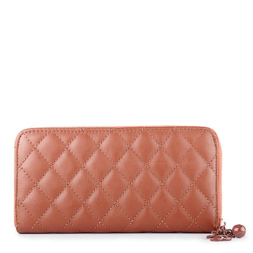 Chanel Key Chain Zip Around Quilted Wallet Brown