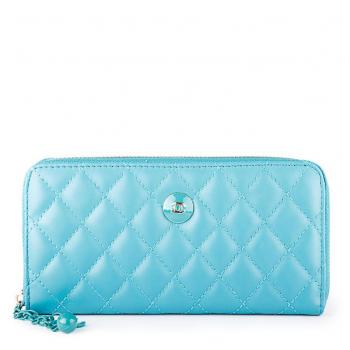 Chanel Key Chain Zip Around Quilted Wallet Sky Blu