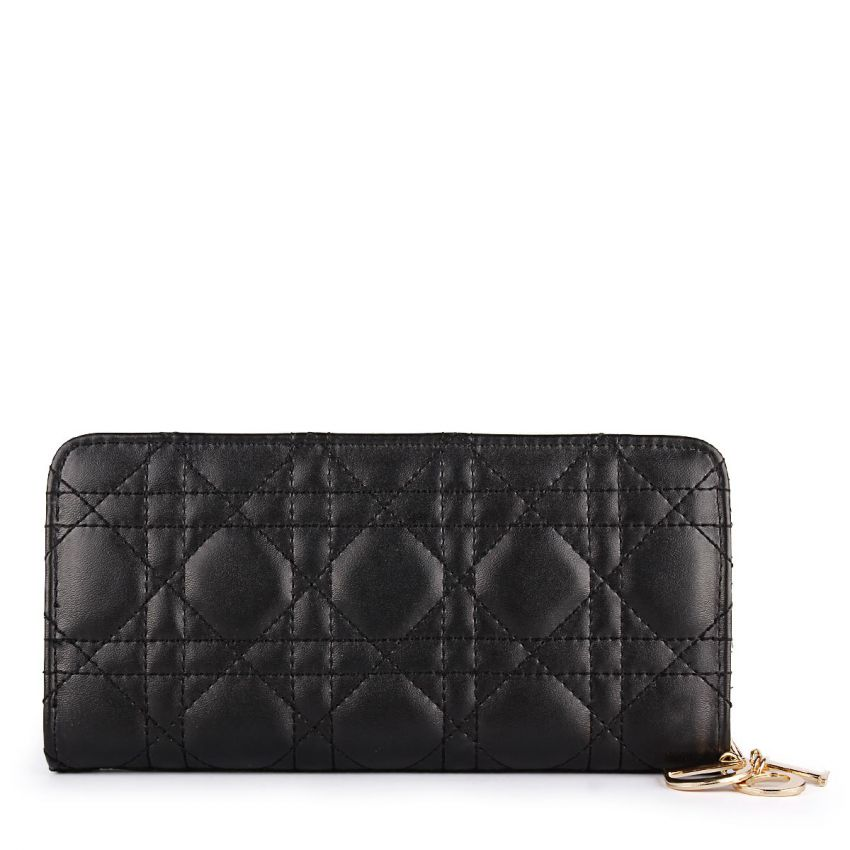 Lady Dior Flapped Quilted Wallet Black