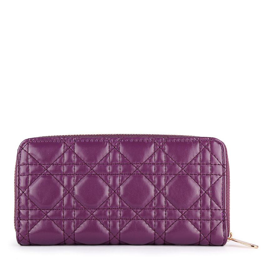 Quilted Lady Dior Zip Around Wallet Purple