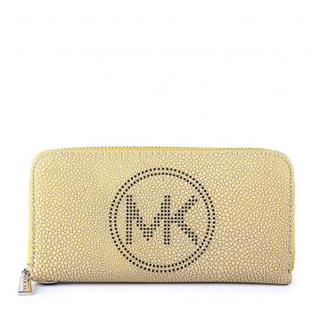 Pebble Textured Mk Logo Wallet Yellow