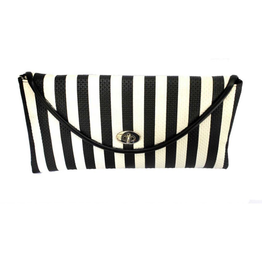 Black And White Stripe Clutch With Chain