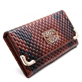 The Glossy Python Wallet  Umber Brown