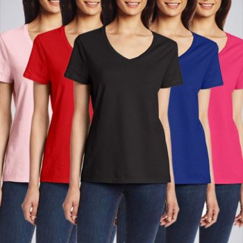 A Pack Of 4 VNeck TShirts For Women