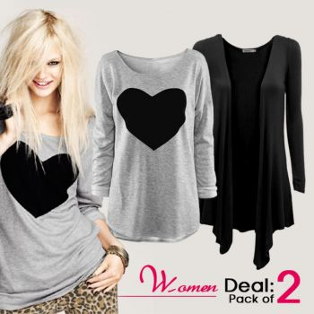 Pack Of Shrug  Heart Top For Women