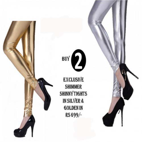 Metallic Tights For Her Pack Of 2