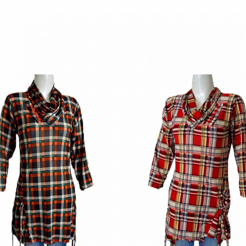 Pack Of 2 Checkered Tops For Women