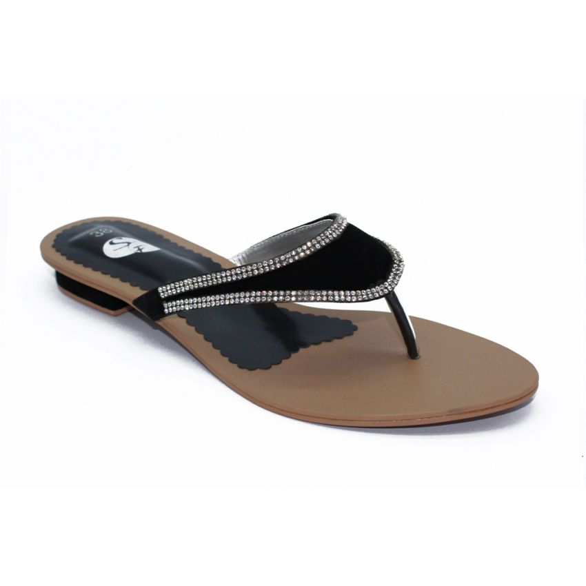 Black Ladies Slippers With Chain 302