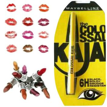 Pack of (10) maybelline lipsticks with free kajal