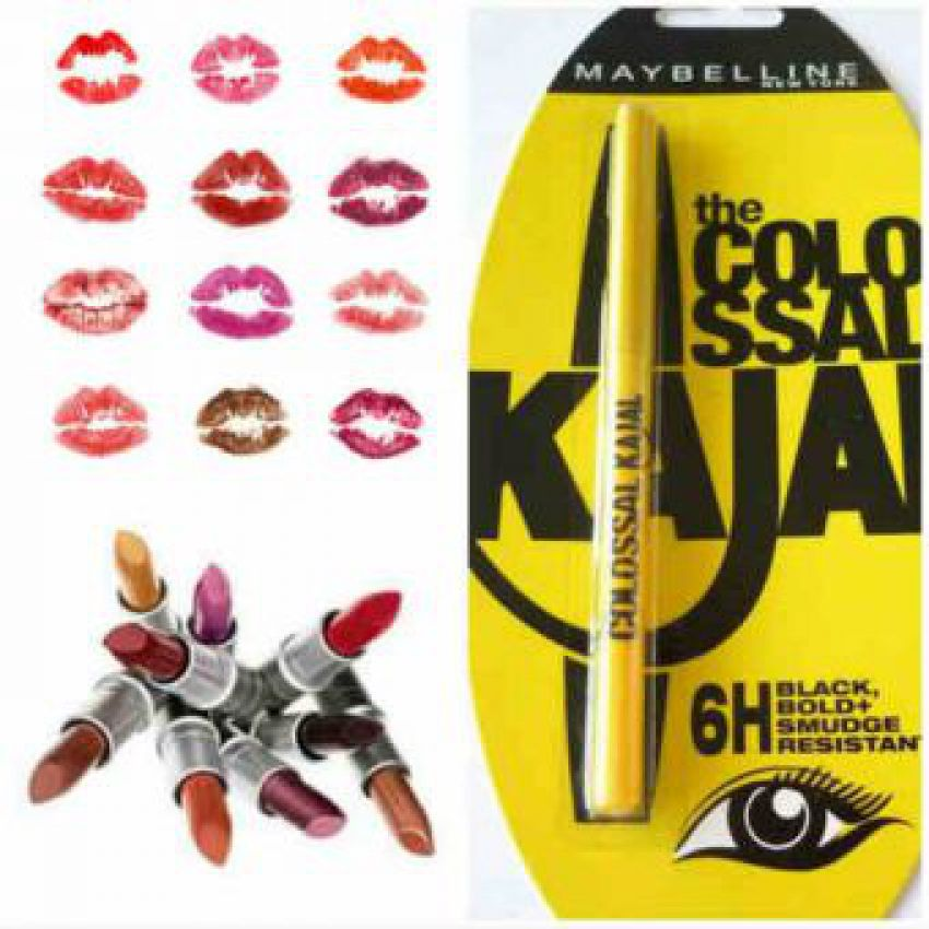 Pack Of 12 maybelline lipstick with clossal kajal