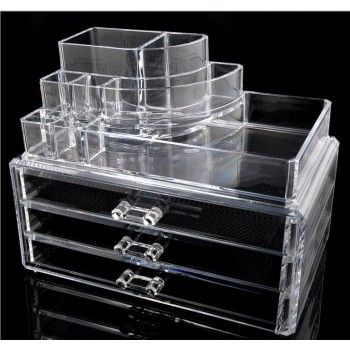 3 Drawer & 1 Makeup Tray Acrylic Makeup Organizer