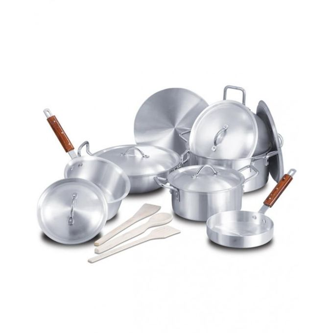 Aluminium Wok Set with Metal Finish - 15pc - Silve