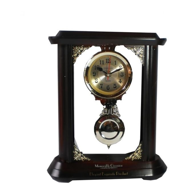 Big Wall Clock with Traditional Pendulum in Maroon