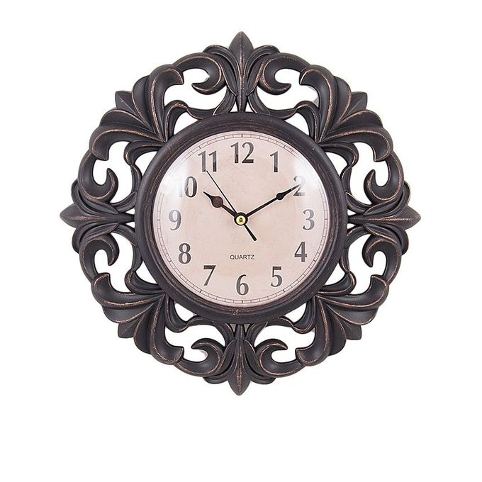Flower Pattern Wall Clock - Black