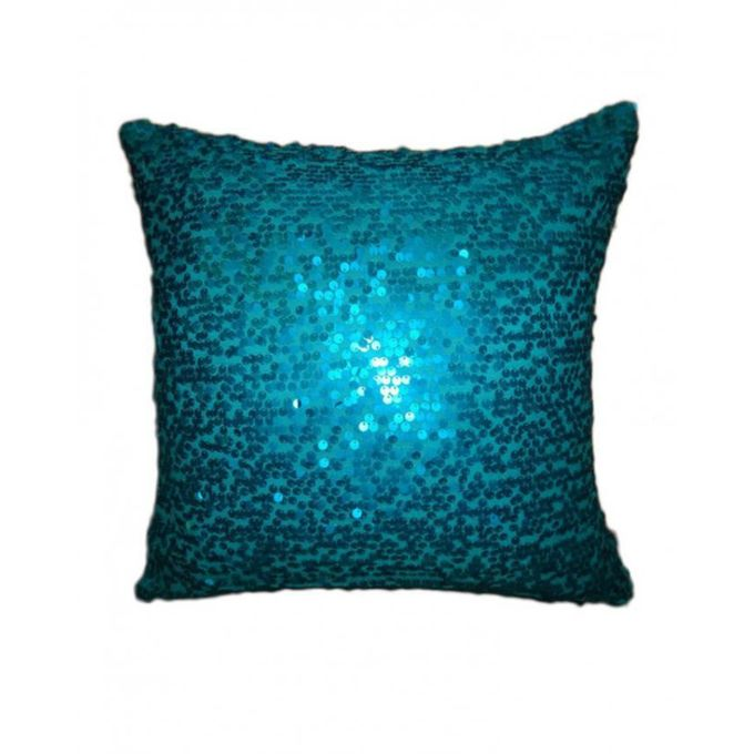 Super Shiny Sequin Embroidery Cushion Cover - Turq