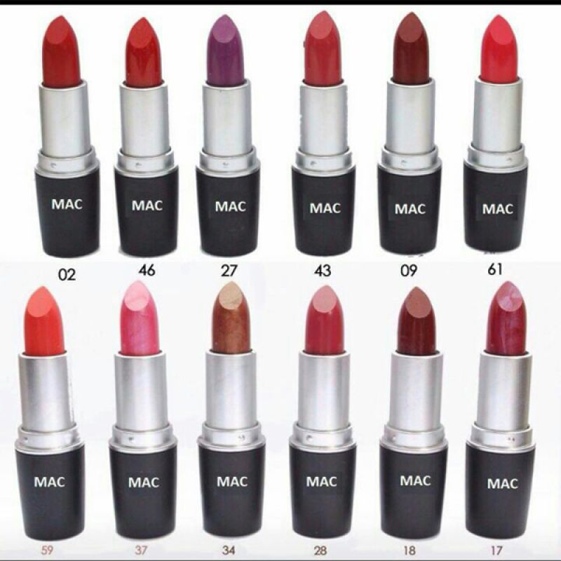Pack of 12 Mac Gorgeous Colors Lipsticks Set