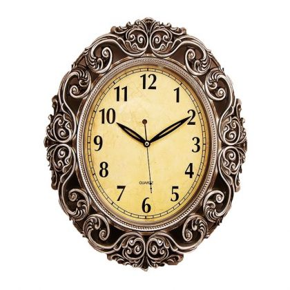 Antique Wall Clock With Silver Finishing - 15x19