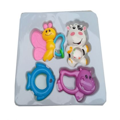Baby Rattle Gift Set 4 Piece - Multicolored
