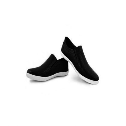 Black Synthetic Leather Sneaker Shoes For Men