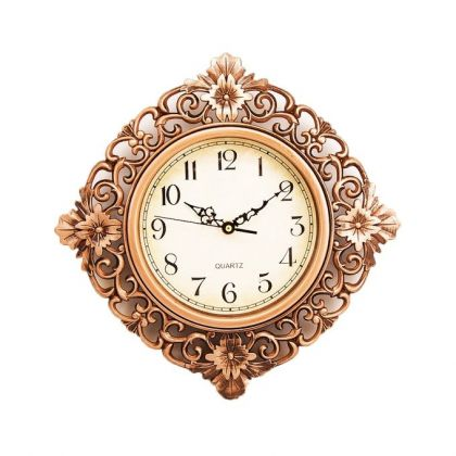 Floral Pattern Bronze Wall Clock