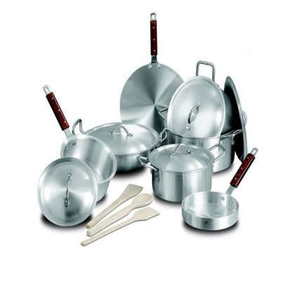 Kiran Alloy Wok Set - 15 Pcs - Silver
