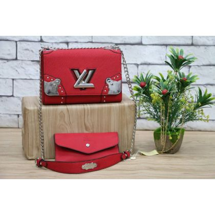 LV Red Womens Shoulder And Hand Bag