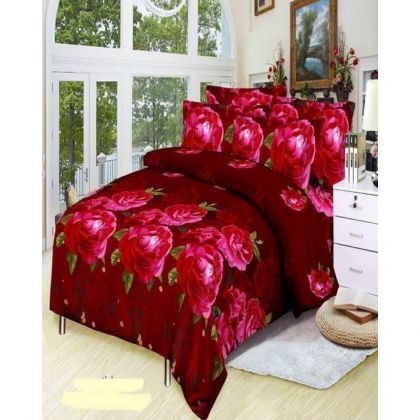 Multicolor 3D Cotton Bedsheet Set - 3 Pcs
