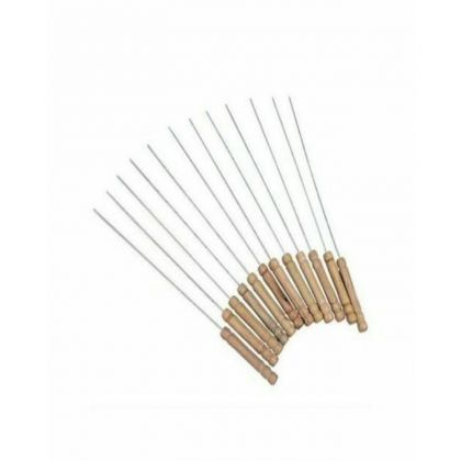 Pack Of 12 - Bbq Wooden Handle Skewers - Brown