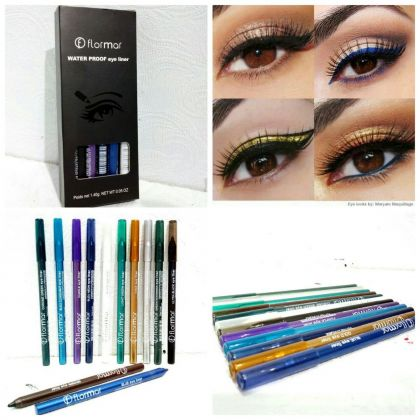 Pack of 12 FLORMAR Water Proof Eyeliners