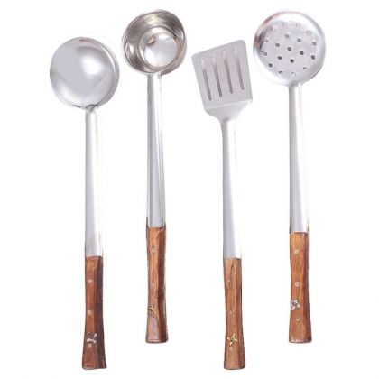 Pack of 4 Kitchen Cooking Spoons - Wood