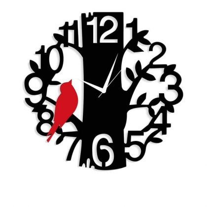 Rubian Sparrow On Tree Wall Clock - Black & Red